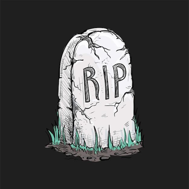 Ilustración de lápida espeluznante de halloween
