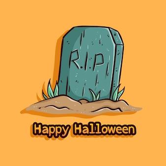 Ilustración de lápida con feliz halloween