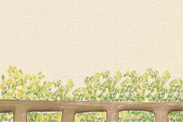 Ilustración de lápiz de color de fondo de arbustos verdes