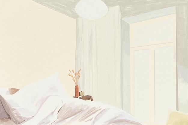 Ilustración de lápiz de color de fondo de dormitorio