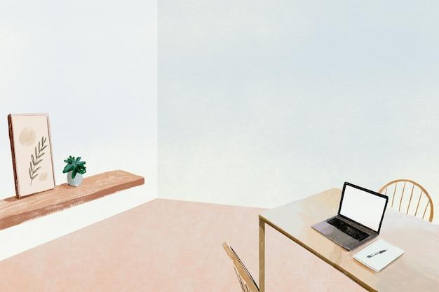 Ilustración de lápiz de color de fondo de oficina en casa