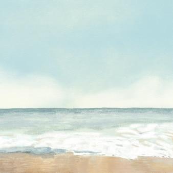 Ilustración de lápiz de color de fondo de playa