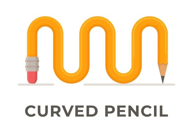 Ilustración de un lápiz liso retorcido aislado. lápiz amarillo con goma de borrar rosa.