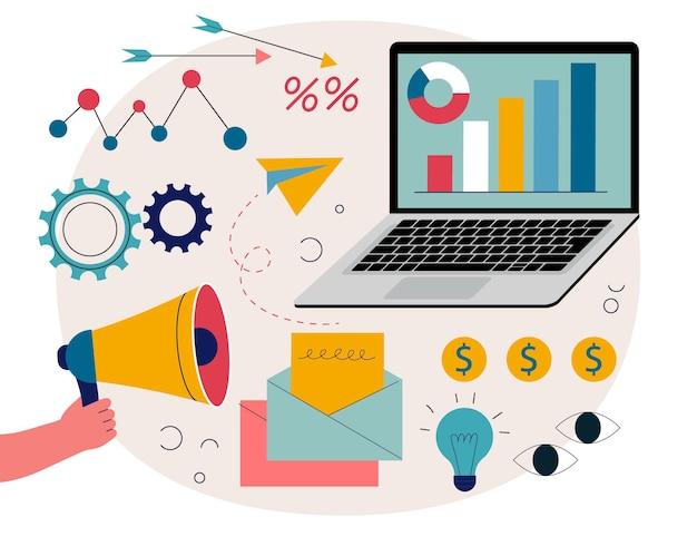 Ilustración con laptop y megáfono