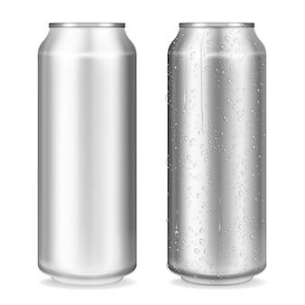 Ilustración de latas de metal de contenedores realistas en 3d para refrescos o bebidas energéticas, limonada o cerveza.