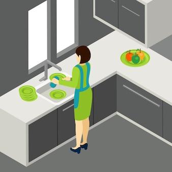 La ilustración de lavar los platos