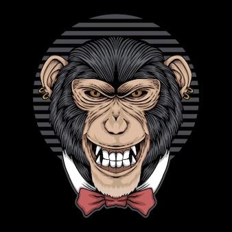 Ilustración de lazo de corbata de chimpancé