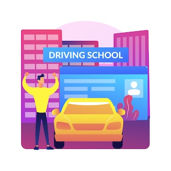 Ilustración de lecciones de conducción