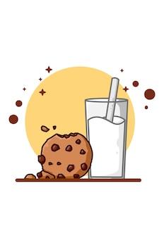Ilustración de leche y galletas