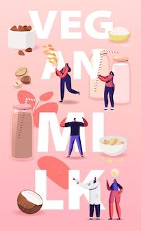 Ilustración de leche vegana con personajes y comida.