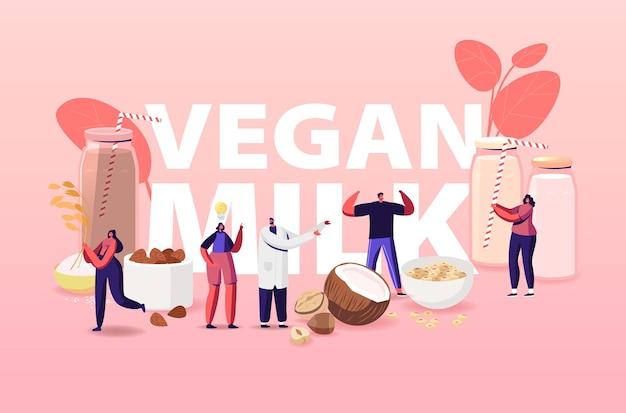 Ilustración de leche vegana. personajes con surtido de bebidas orgánicas no lácteas de frutos secos.