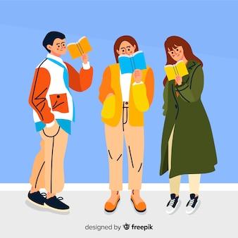 Ilustración con lectura grupal de personajes