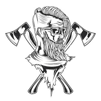 Ilustración de leñador