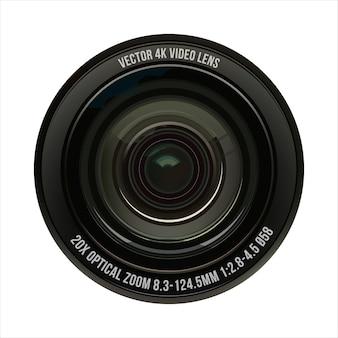 Ilustración lente óptica de video en un blanco aislado