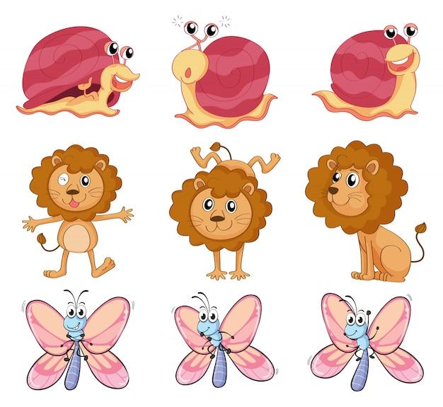 Ilustración de un león, un caracol y una mariposa sobre un fondo blanco