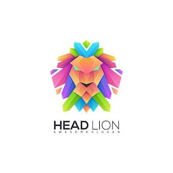 Ilustración león colorido logo degradado