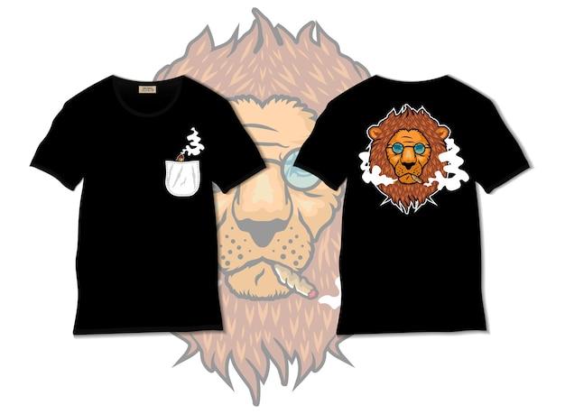 Ilustración de león fumador con diseño de camiseta, dibujado a mano