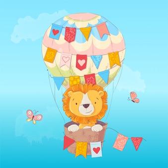 Ilustración de un león lindo en un globo con banderas en estilo de dibujos animados. dibujo a mano.