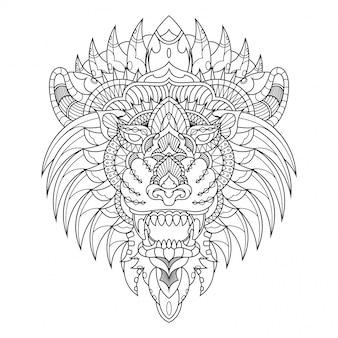 Ilustración de león, mandala zentangle en libro de colorear de estilo lineal