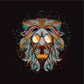 Ilustración del león sobre estilo boho