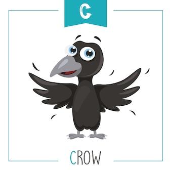 Ilustración de la letra del alfabeto c y cuervo