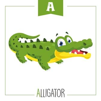 Ilustración de la letra a del alfabeto y cocodrilo