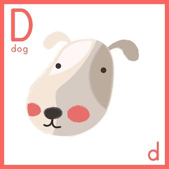 Ilustración de la letra del alfabeto con foto animal