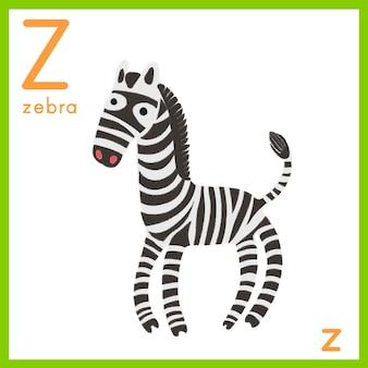 Ilustración de la letra del alfabeto con la imagen de un animal