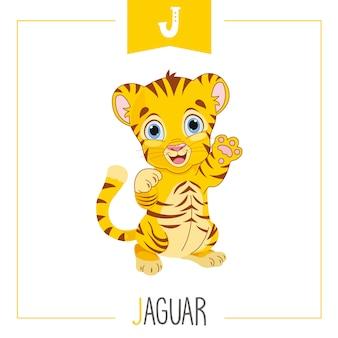 Ilustración de la letra del alfabeto j y jaguar