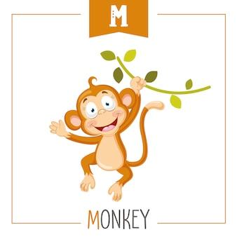 Ilustración de la letra del alfabeto m y mono