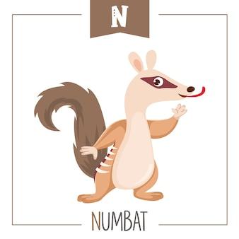 Ilustración de la letra del alfabeto n y numbat