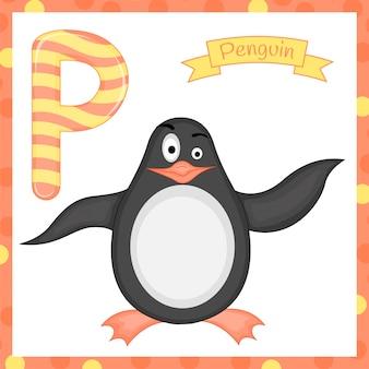 La ilustración de la letra p del alfabeto animal aislado es para el alfabeto de dibujos animados de pingüinos