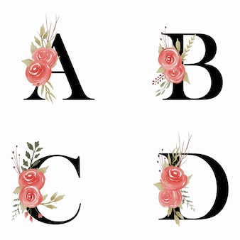 Ilustración de las letras del alfabeto de boda con flor de acuarela