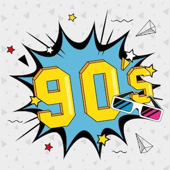 Ilustración de letras de los noventa con gafas