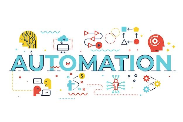Ilustración de letras de palabra de automatización
