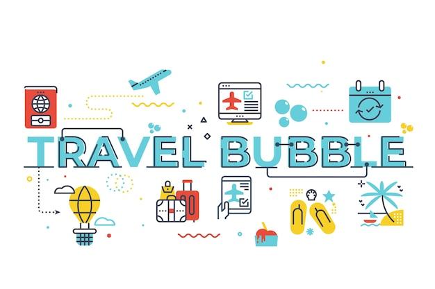 Ilustración de letras de palabra burbuja de viaje