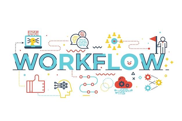 Ilustración de letras de palabra de flujo de trabajo