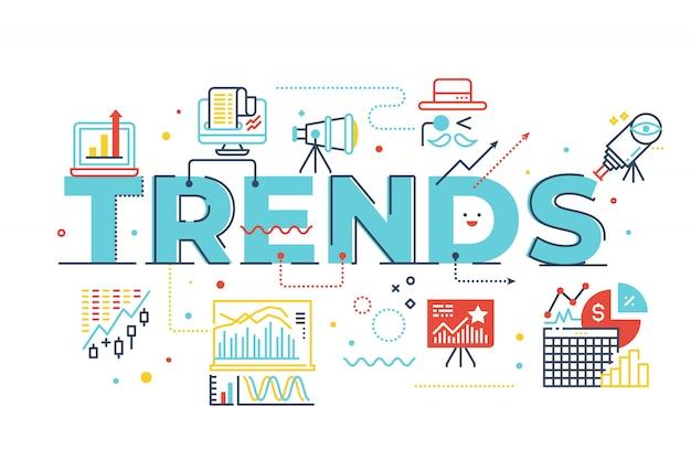 Ilustración de letras de palabra de tendencias