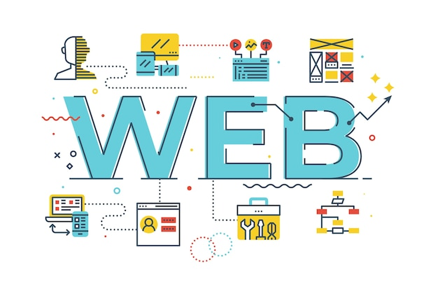 Ilustración de letras de palabra web