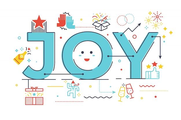 Ilustración de letras de palabras de alegría