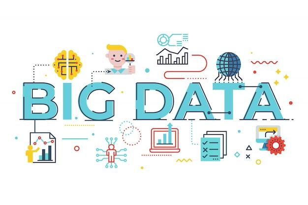 Ilustración de letras de palabras de big data