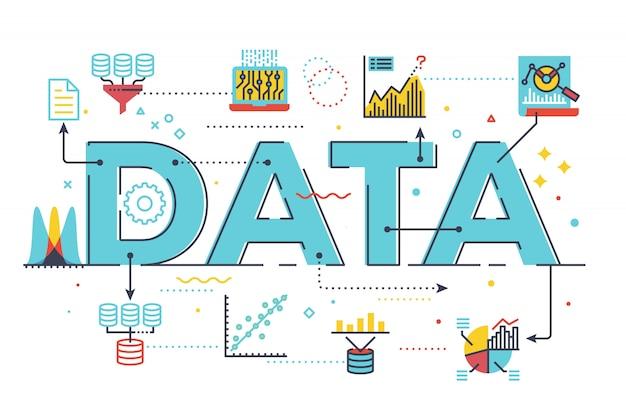 Ilustración de letras de palabras de datos