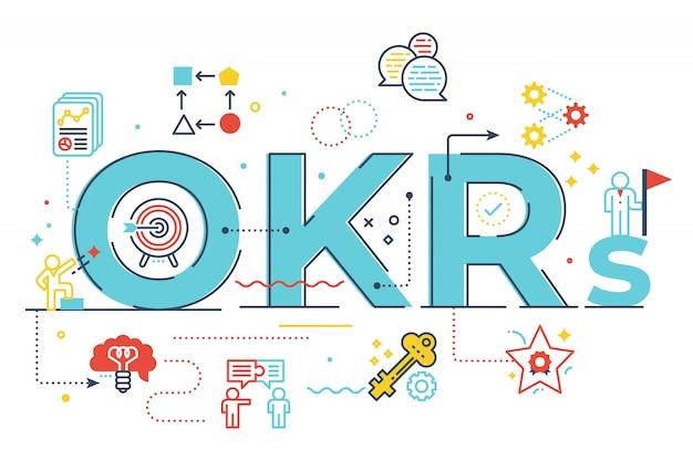 Ilustración de letras de palabras okrs