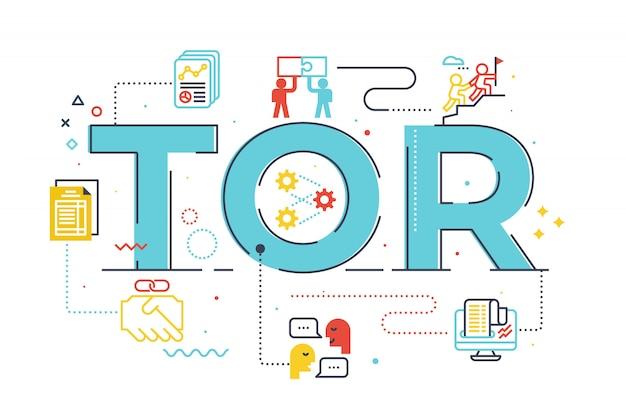 Ilustración de letras de palabras tor (término de referencia)