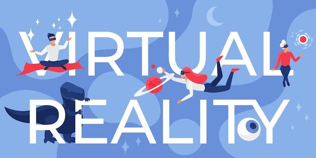 Ilustración de letras de realidad virtual