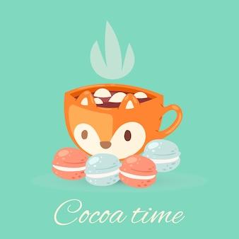 Ilustración de letras de tiempo de cacao, taza acogedora con deliciosa bebida de cacao, linda taza de chocolate con aroma caliente