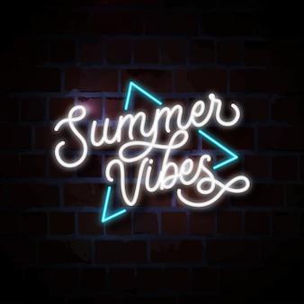 Ilustración de letrero de neón de vibraciones de verano