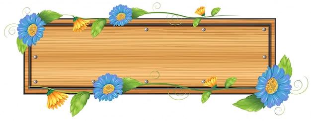 Ilustración de un letrero vacío con flores sobre un fondo blanco