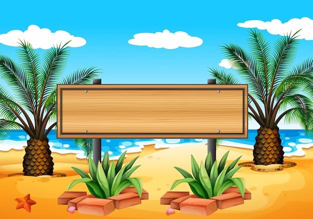Ilustración de un letrero vacío en la playa