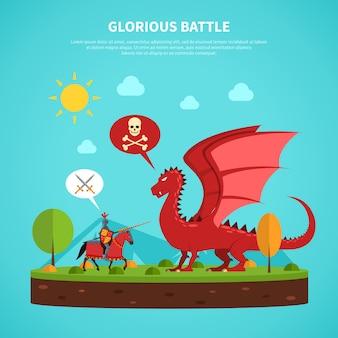 Ilustración de leyenda de caballero dragón plana